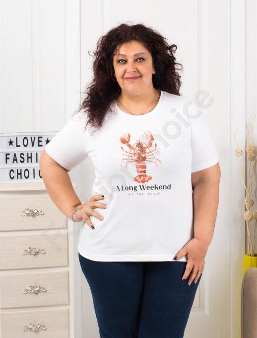 Макси блузка с къс ръкав и цветна щампа рак-код 006