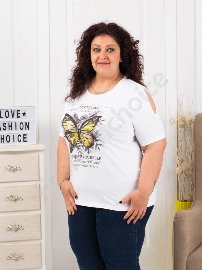 Макси блузка с щампа пеперуда и отвори на раменете-код 005