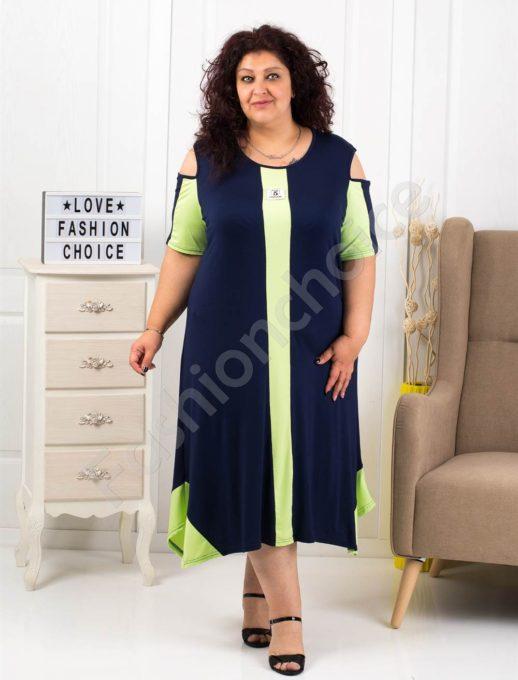 Макси рокля с отвори на раменете в тъмносиньо и резеда-код 1112-1