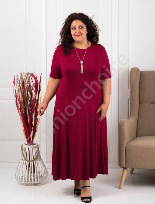 Разкроена макси рокля в бордо+подарък нежно бижу-код 535-1