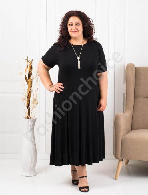 Разкроена макси рокля в черно+подарък нежно бижу-код 535