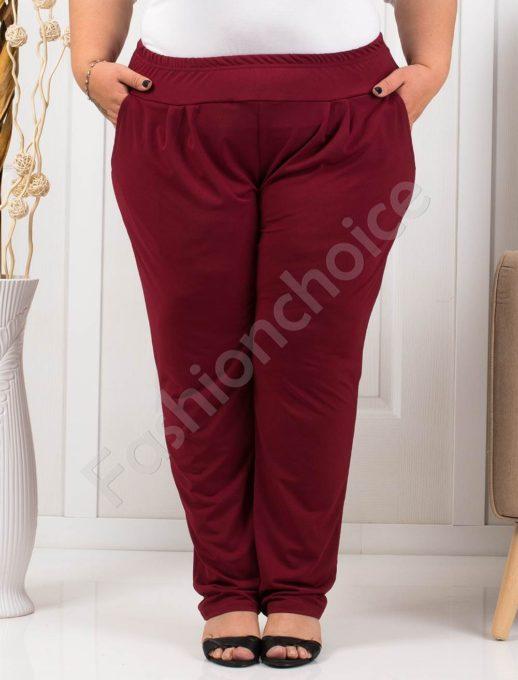Дамски макси панталон с чудесна кройка в бордо-код 7046-2