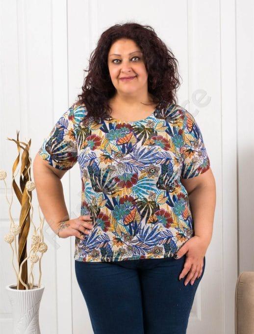Цветна макси блузка с къс ръкав-синьо-код 11023-3