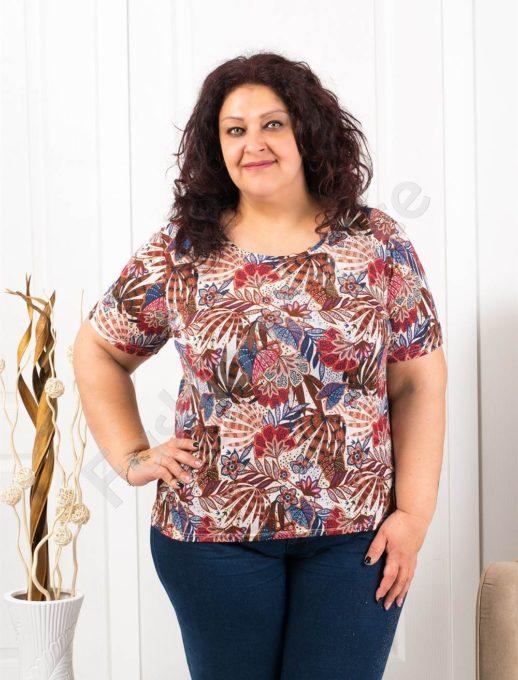 Цветна макси блузка с къс ръкав-пастелни цветове-код 11023-2