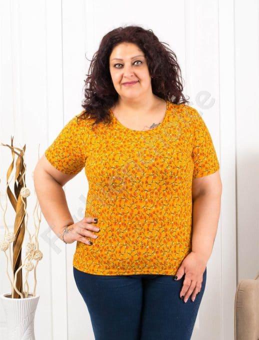 Цветна макси блузка с къс ръкав-горчица-код 11023-1
