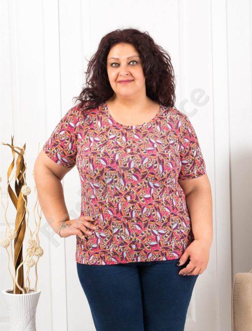 Цветна макси блузка с къс ръкав-корал-код 11023
