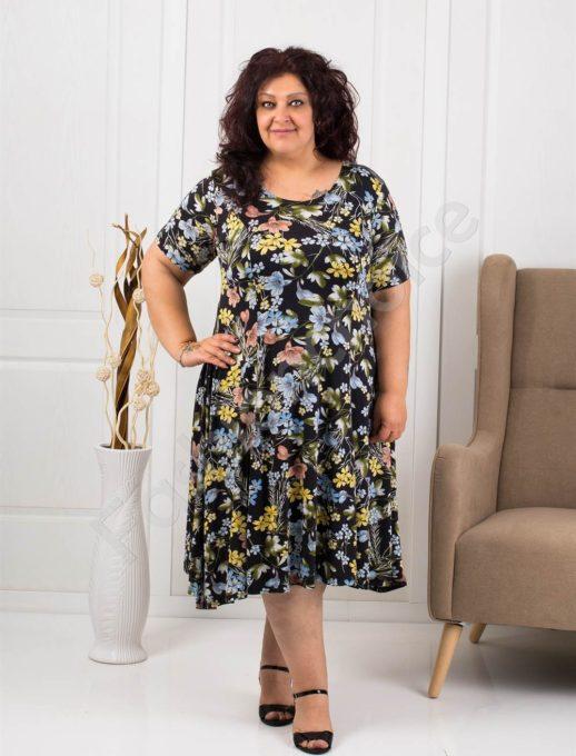 Разкроена макси рокля на цветя-син нюанс-код 0606-3