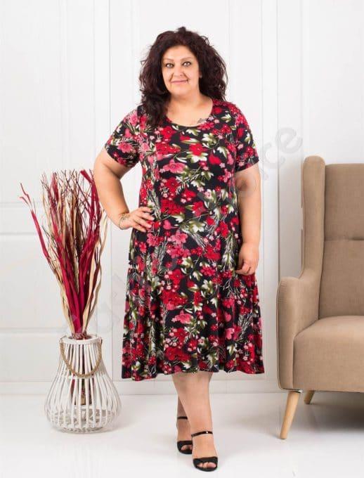 Цветна разкроена макси рокля на червени цветя-код 0606