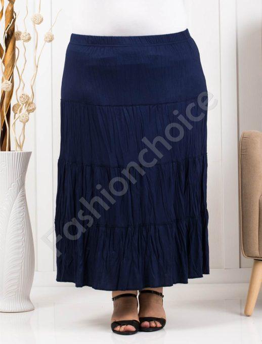 Дълга макси пола с намачкан ефект в синьо-код 298