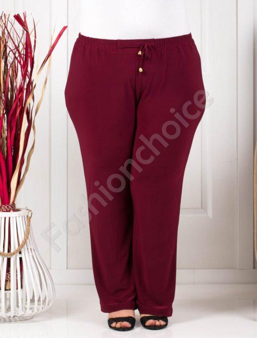 Прекрасен летен макси панталон в бордо/60-62-64-66/-код 019-1