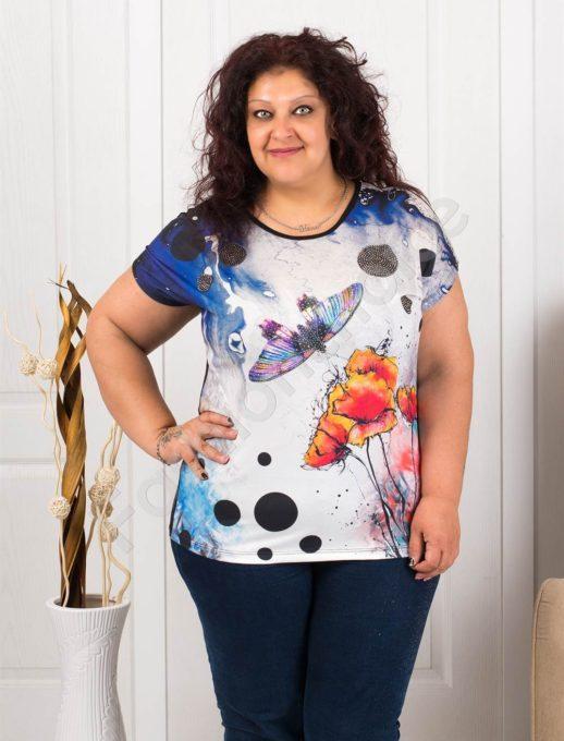 Макси блузка с цветна пеперуда и камъчета-код 7891