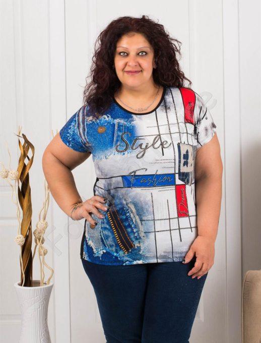 Макси блузка с дънкови мотиви и ефектни камъчета-код 7927