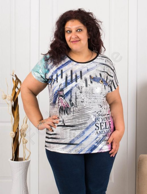 Макси блузка с интересен десен рисунка-код 7927