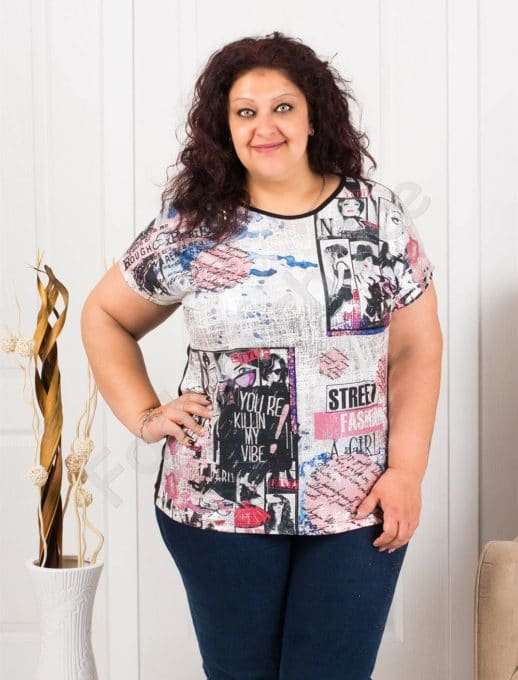 Макси блузка с надписи и щампа комикс-код 7926