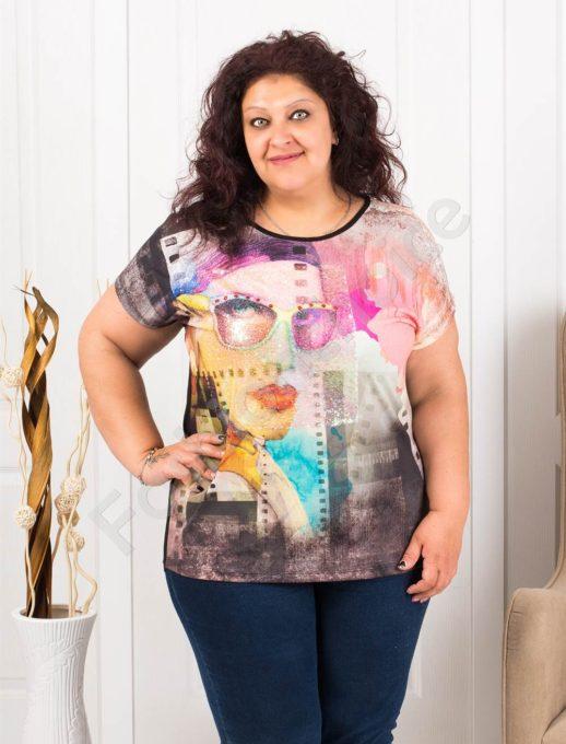 Макси блузка с интересен десен и апликация от пайети-код 7853