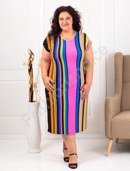 Цветна макси рокля в десен на свежи райета-циклама-код 944-14