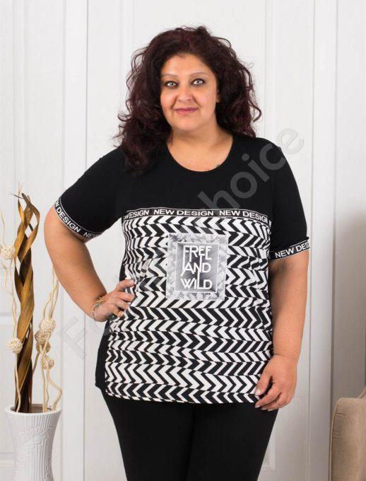 Елегантна макси блуза в актуален принт зигзаг-черно-код 1087