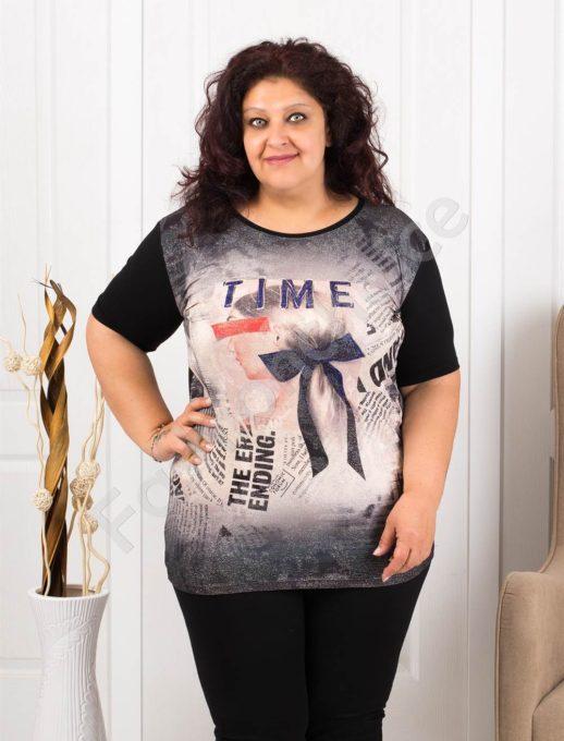 Макси туника с красива панделка и надпис TIME-код 1069