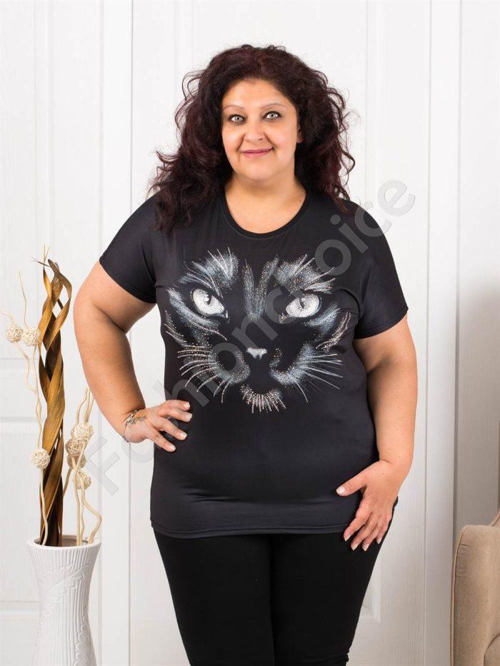 Макси блузка с ефектна декорация от камъчета-котка-код 974