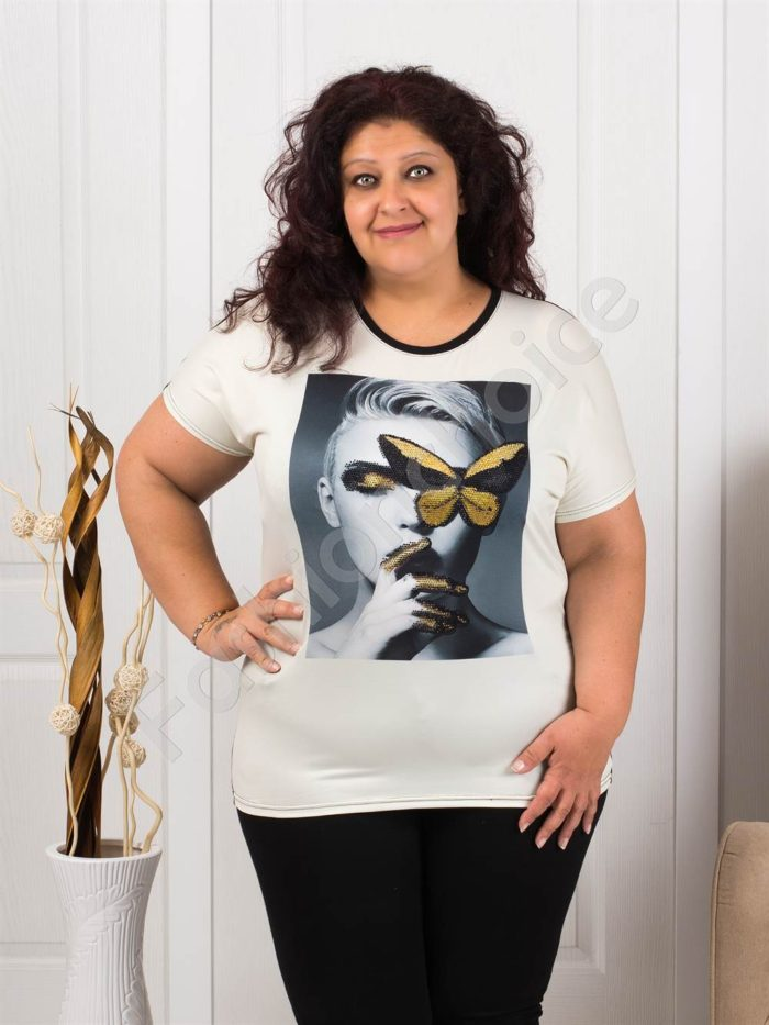 Макси блузка с ефектна декорация от камъчета-дама/пеперуда-код 974-1