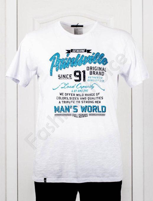 Мъжка макси тениска с голяма щампа в бяло-код 100-2