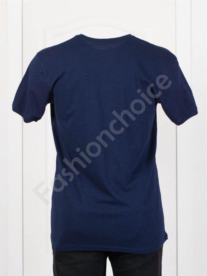 Мъжка макси тениска с голяма щампа в тъмносиньо-код 100-3