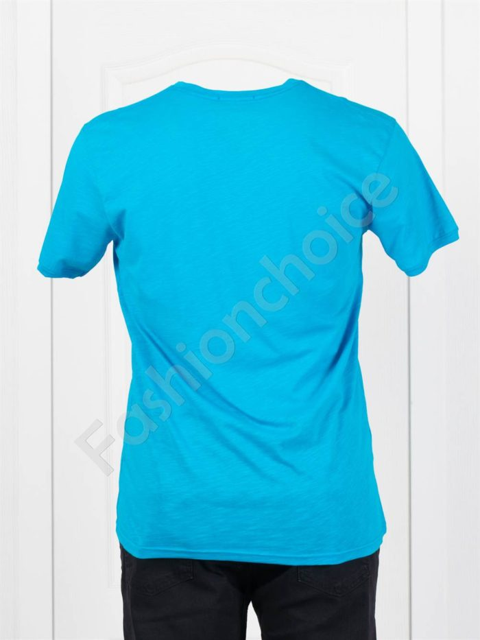 Мъжка макси тениска с голяма щампа-тюркоаз-код 100-5