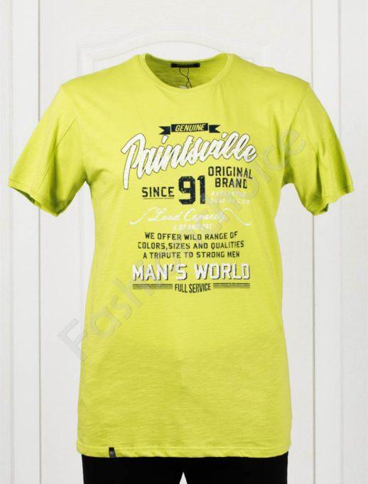 Мъжка макси тениска с голяма щампа в резеда-код 100-1