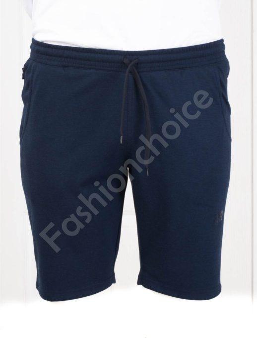Мъжки макси къси панталонки с двоен джоб в тъмносин меланж-код 091-2