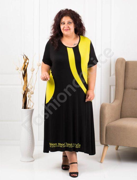 Модерна макси рокля в черно и резеда-код 1196