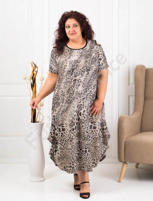 Дълга макси рокля в леопардов десен-код 824-6
