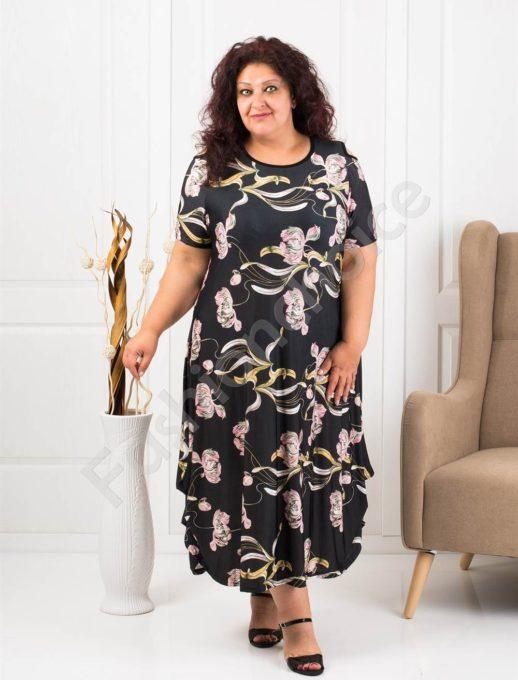 Очарователна дълга макси рокля на розови цветя-код 824-7