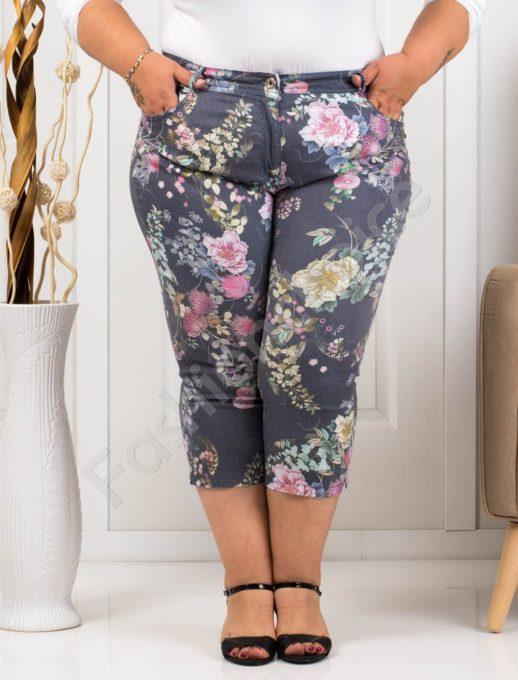Летен дамски макси панталон в десен на розови цветя-код 988-2