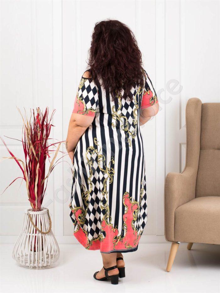 Шикозна дълга макси рокля с абстрактни мотиви-код 824-8