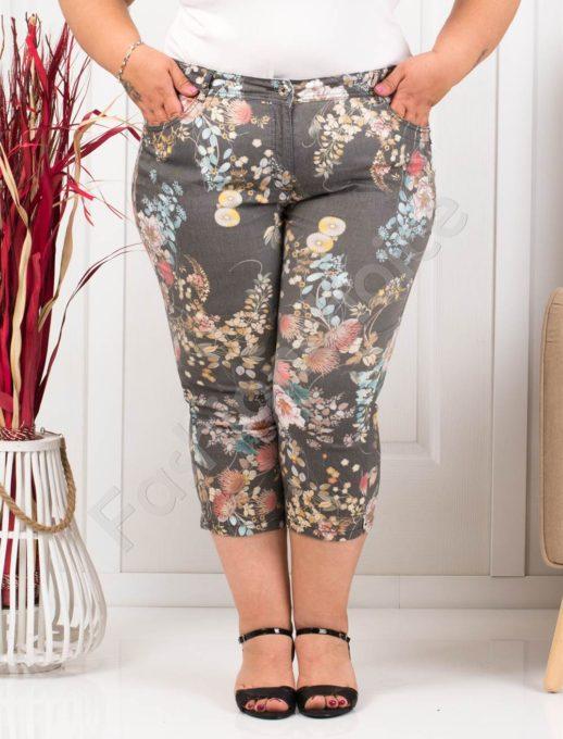 Летен дамски макси панталон в черно на цветя-код 988-3