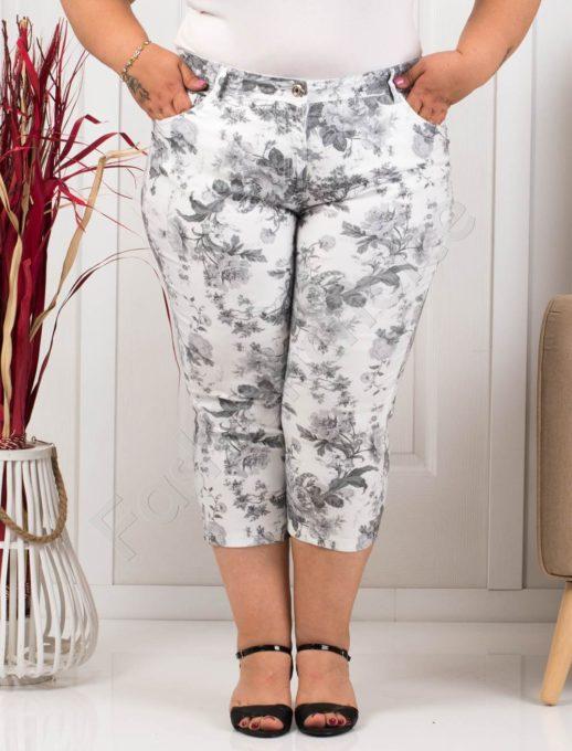 Летен дамски макси панталон в бяло на черни цветя-код 988-6
