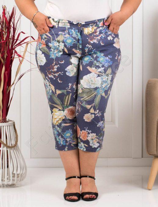 Летен дамски макси панталон в синьо на жълти цветя-код 988-5