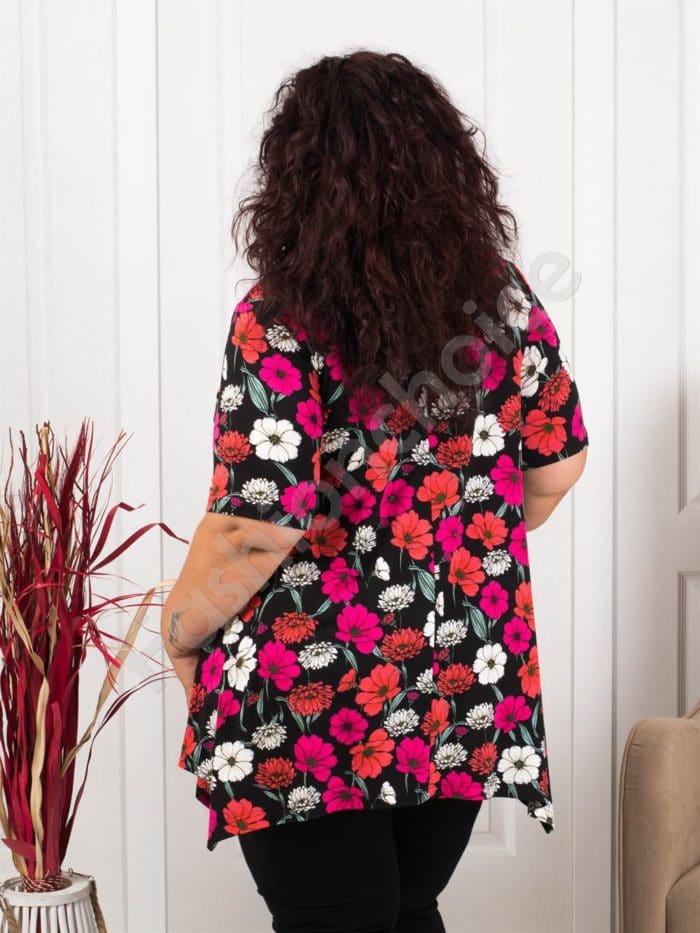 Разкроена макси туника в черно на красиви цикламени цветя-код 087-10