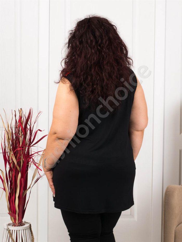Дамски макси топ в черно с оранжеви платки-код 1118