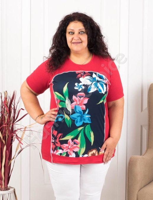 Макси туника в десен на големи красиви цветя-червено