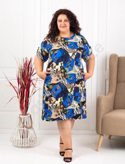 Модеран макси рокля-туника в свеж летен десен-синьо-код 8294-1