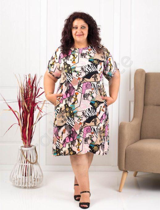 Модеран макси рокля-туника в свеж летен десен-пудра-код 8294-2