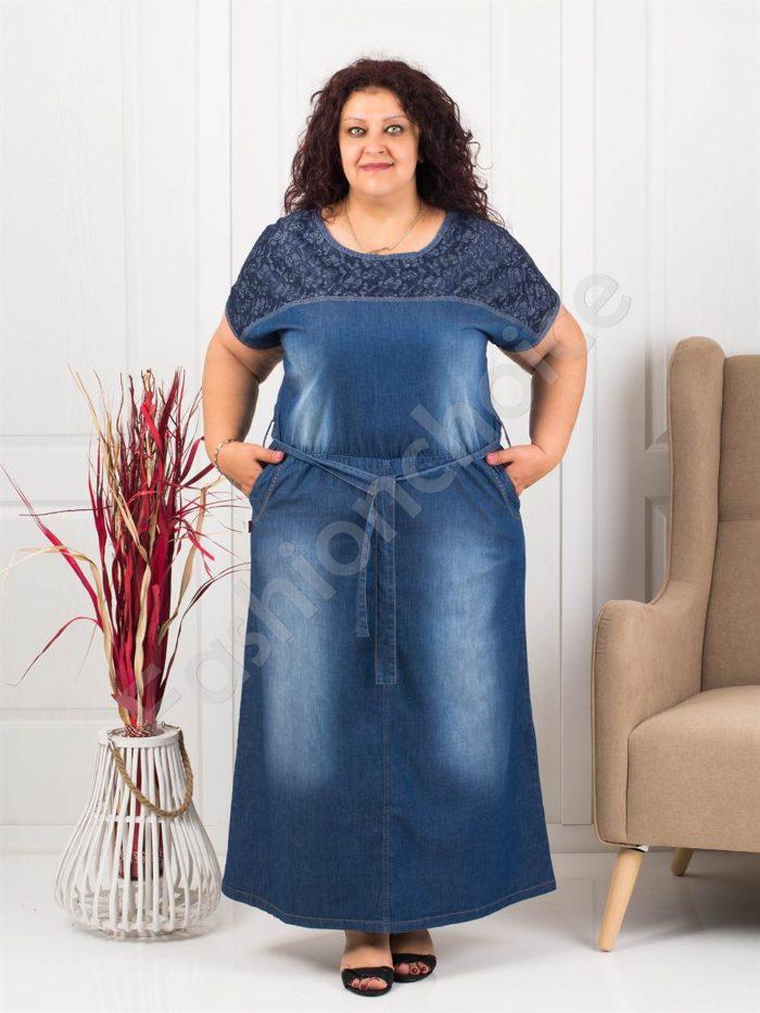 Дълга макси рокля от летен деним с дантела за акцент-код 414