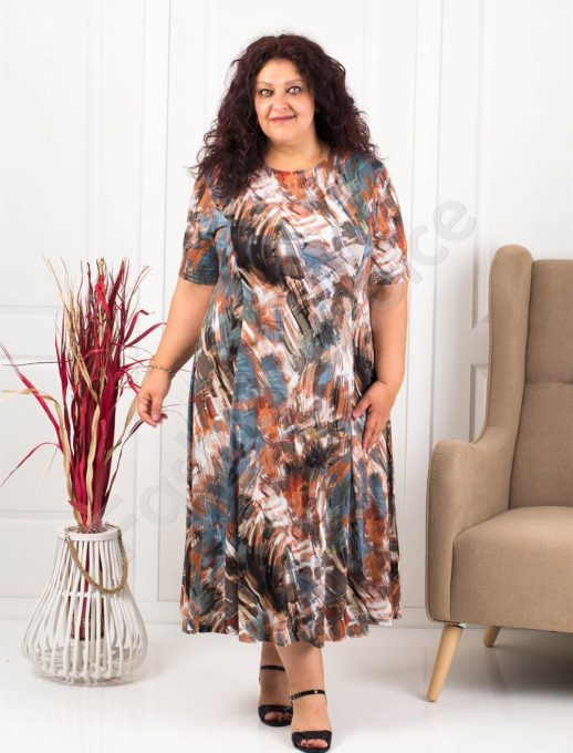 Прекрасна разкроена макси рокля в пастелни цветове-кафяво-код 537-11