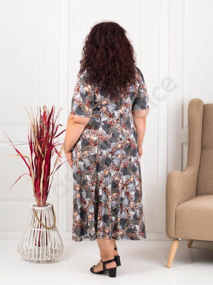Прекрасна разкроена макси рокля в пастелни цветове-керемида-код 537-10