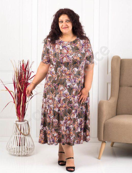 Прекрасна разкроена макси рокля в пастелни цветове-лила-код 537-9
