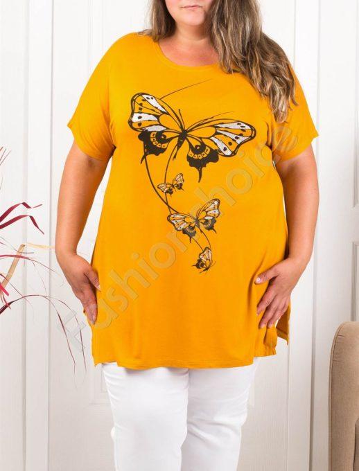 Макси туника с красива щампа блестящи пеперуди-горчица-код 973-17