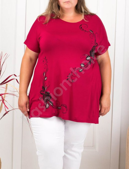 Макси туника с красива щампа абстрактни цветя-бордо-код 973-19