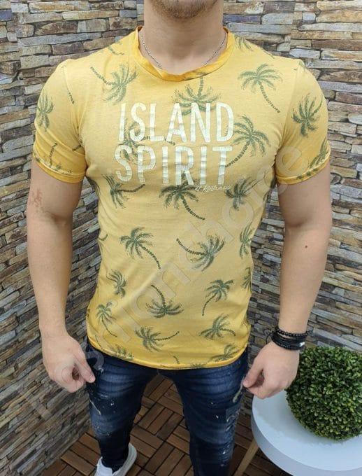 Мъжка тениска с принт палми и надпис ISLAND SPIRIT-код 1004