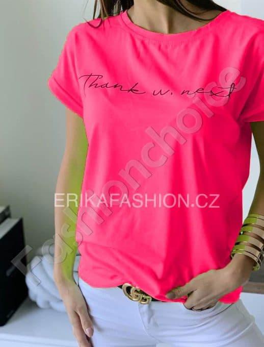 Дамска тениска с къс ръкав в розов неон-код 965-11